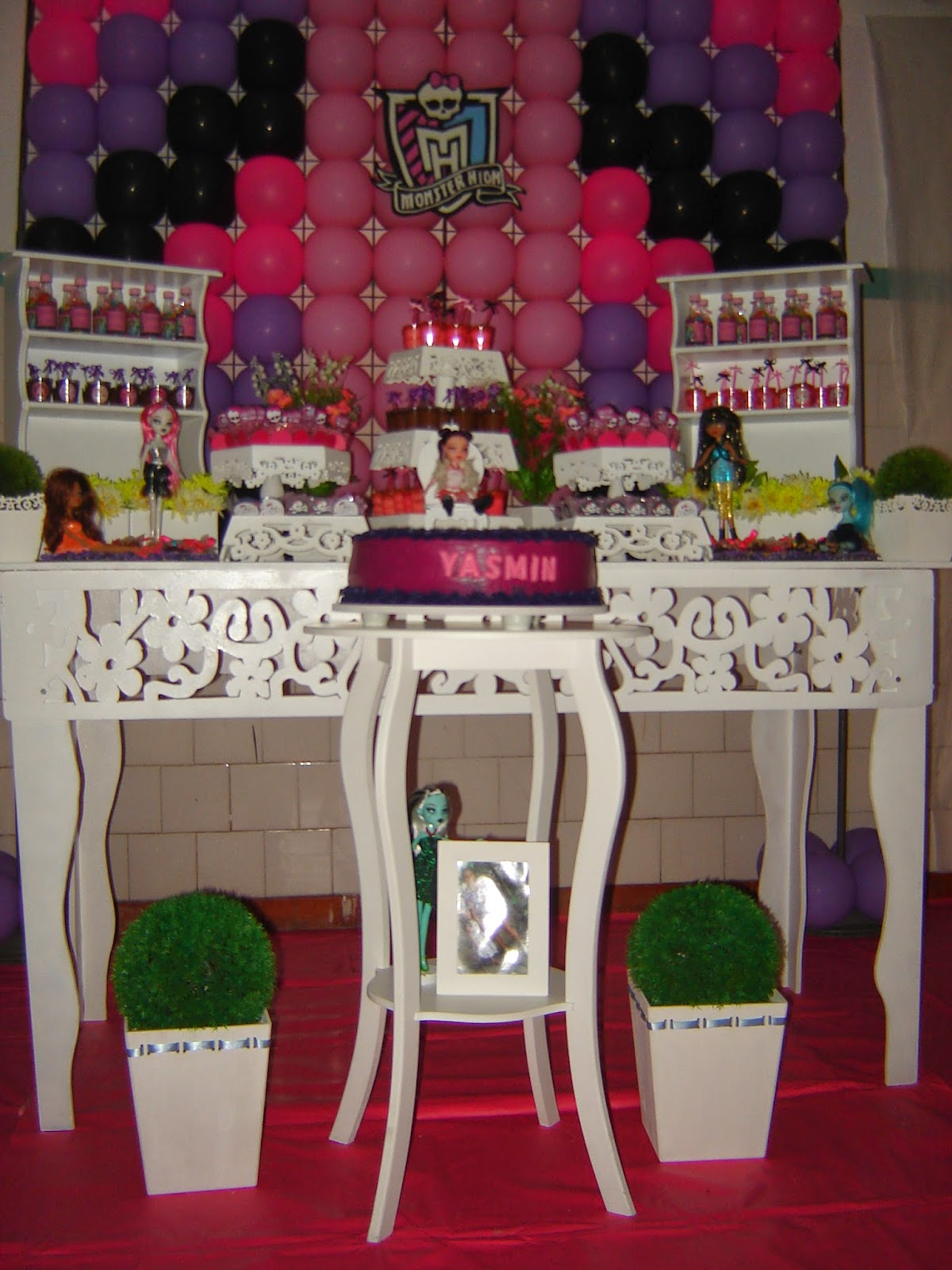 Decoração Yasmim ~ Priscila Arte em balões Decoraç u00e3o Provençal Monster High Yasmim
