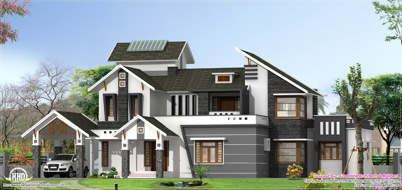 Modern 5 bedroom home design kerala home design and for Kerala home designs contemporary