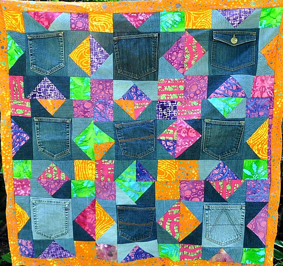 In watermelon sugar blue jeans pocket quilts