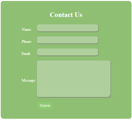 Create contact form using php