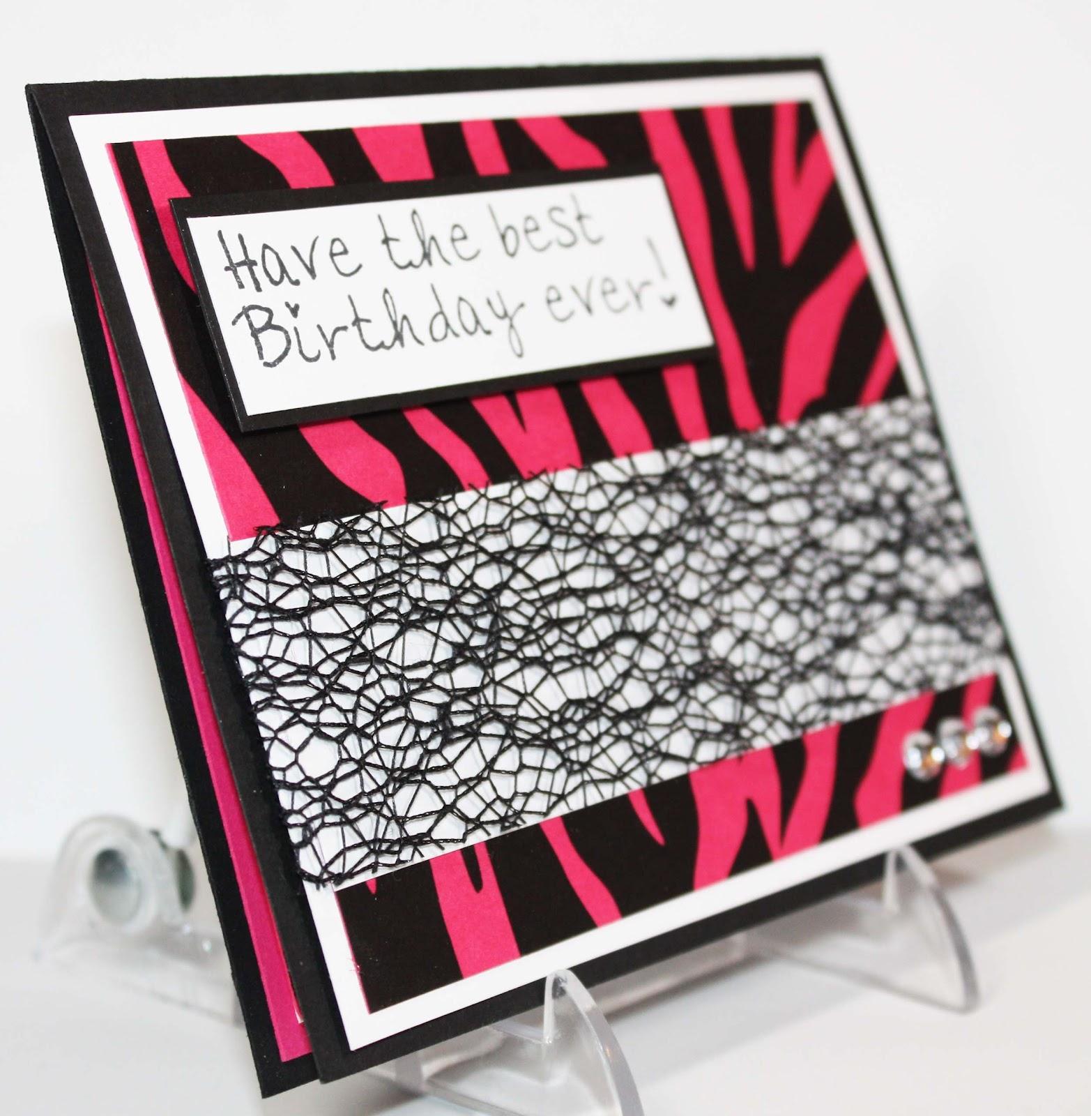 Simply Pam: Zebra Print Birthday Card