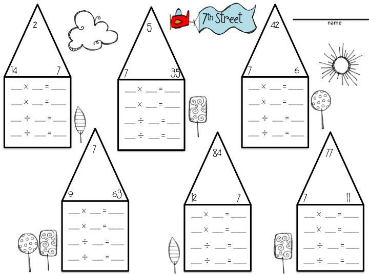 Multiplication Fact Family House Template | galleryhip.com - The ...