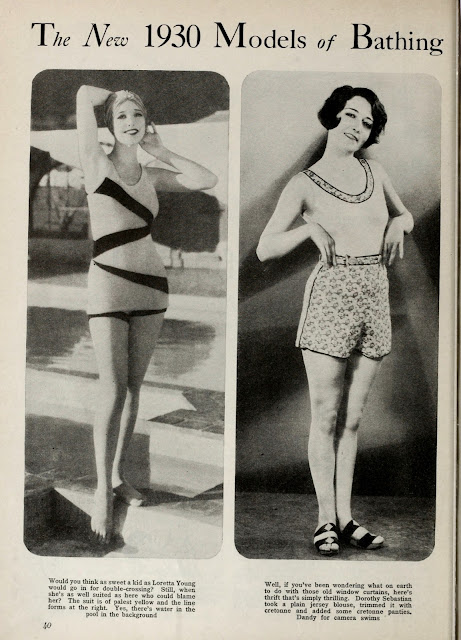 Loretta young Dorothy sebastian photoplay 1930 vintage magazine bathing suit