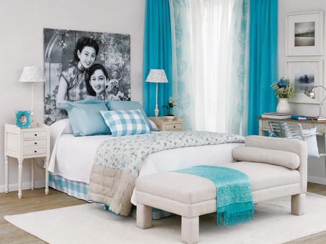 Dormitorio turquesa, beige y blanco