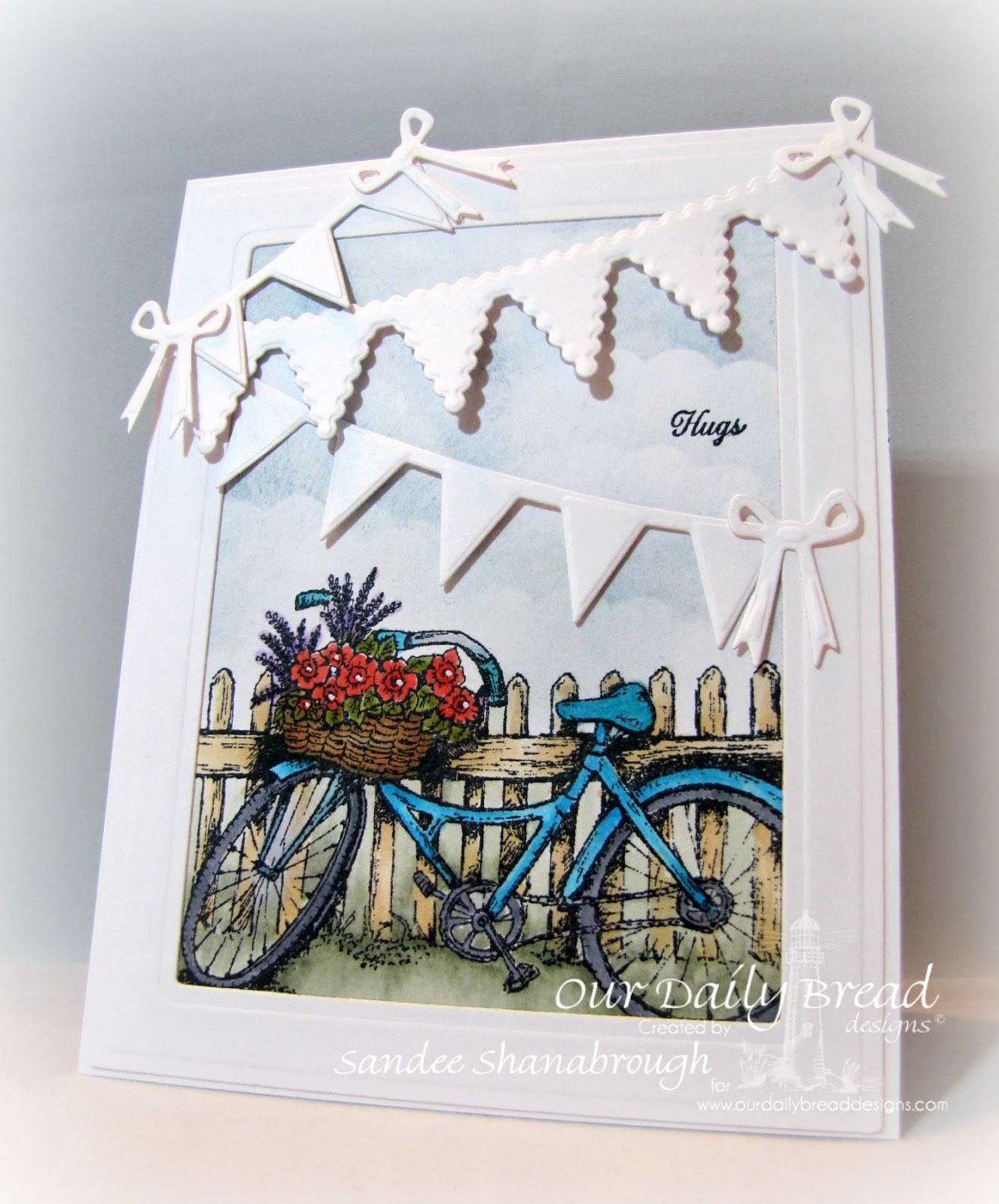 Stamps - Our Daily Bread Designs Bicycle, Ornate Borders Sentiments, ODBD Custom Pennant Row Die,ODBD Custom Pennant Swag Die