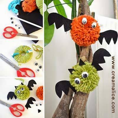 Diy chauve souris halloween pompon creamalice do it - Deco chauve souris halloween ...