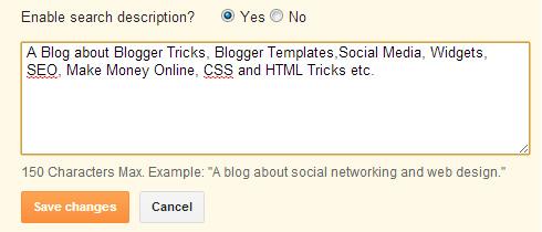 enable search description for blogger