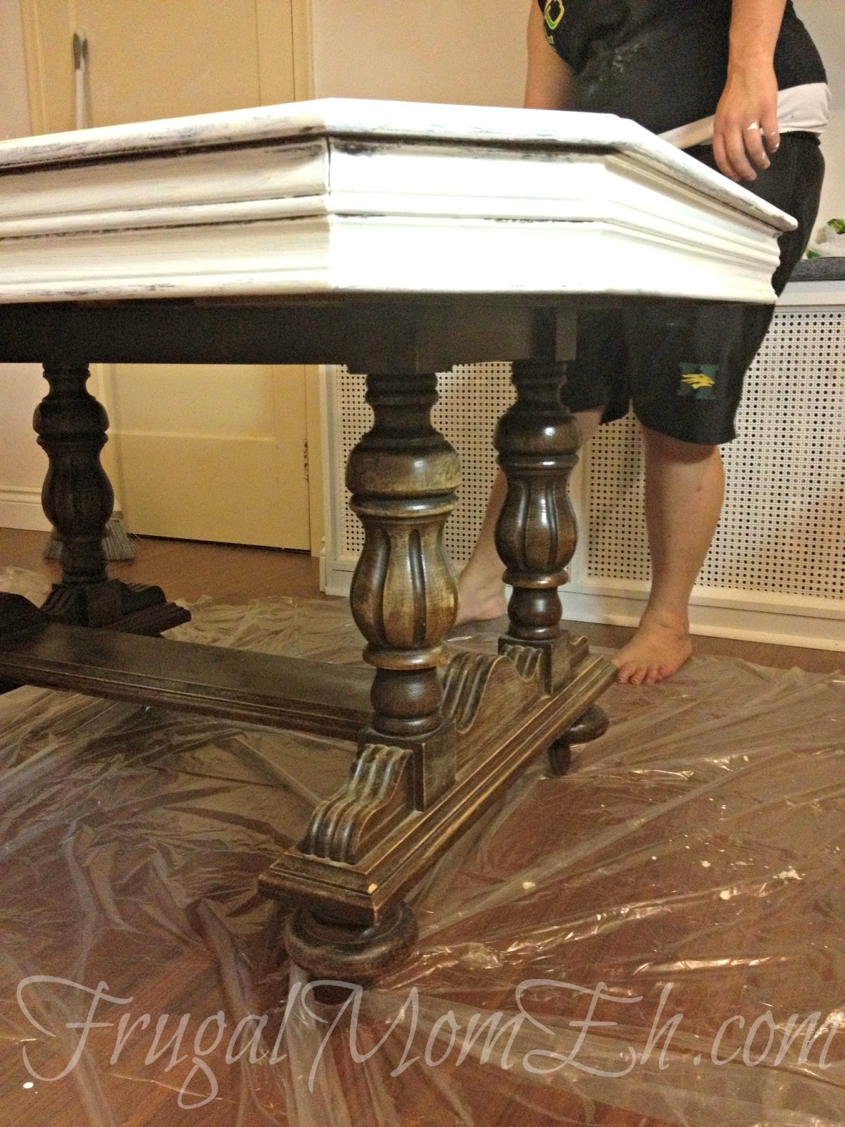 diy distressed table frugal mom eh distressed painted dining