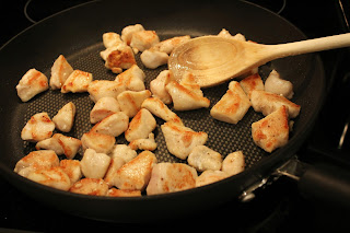 flip chicken pieces and brown the other side in skillet