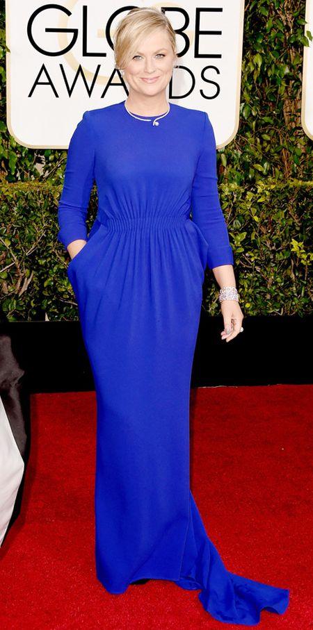 Amy Poehler in royal blue Stella McCartney dress at the Golden Globes 2015