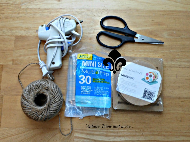 Vintage, Paint and more... supplies to make DIY twine coasters
