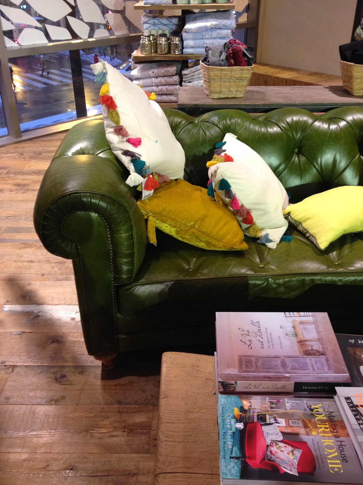 green couch & cushions