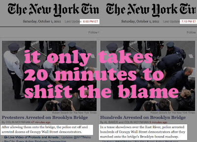 Ocupar Wall Street no New York Times: leva apenas 20 minutos para mudar a culpa de lugar