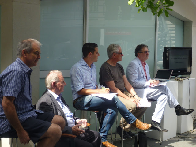 Barangaroo discussion by Philip Thalis, Dr Jack Mundey AO, Alex Greenwich MP, John McInerney, Dr Graham Jahn AM at the Jane Bennett exhibition at the Frances Keevil Gallery