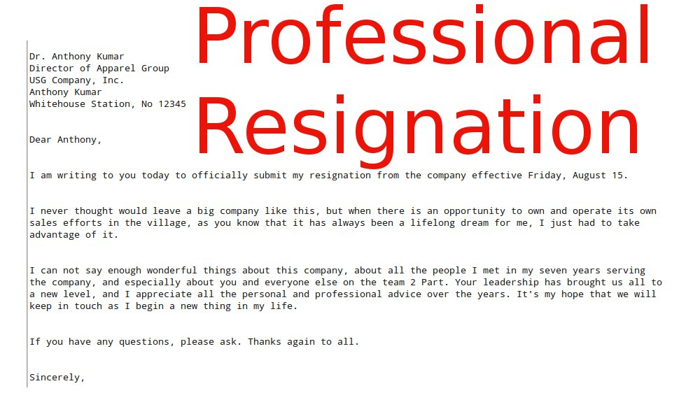 professional resignation. Resume Example. Resume CV Cover Letter