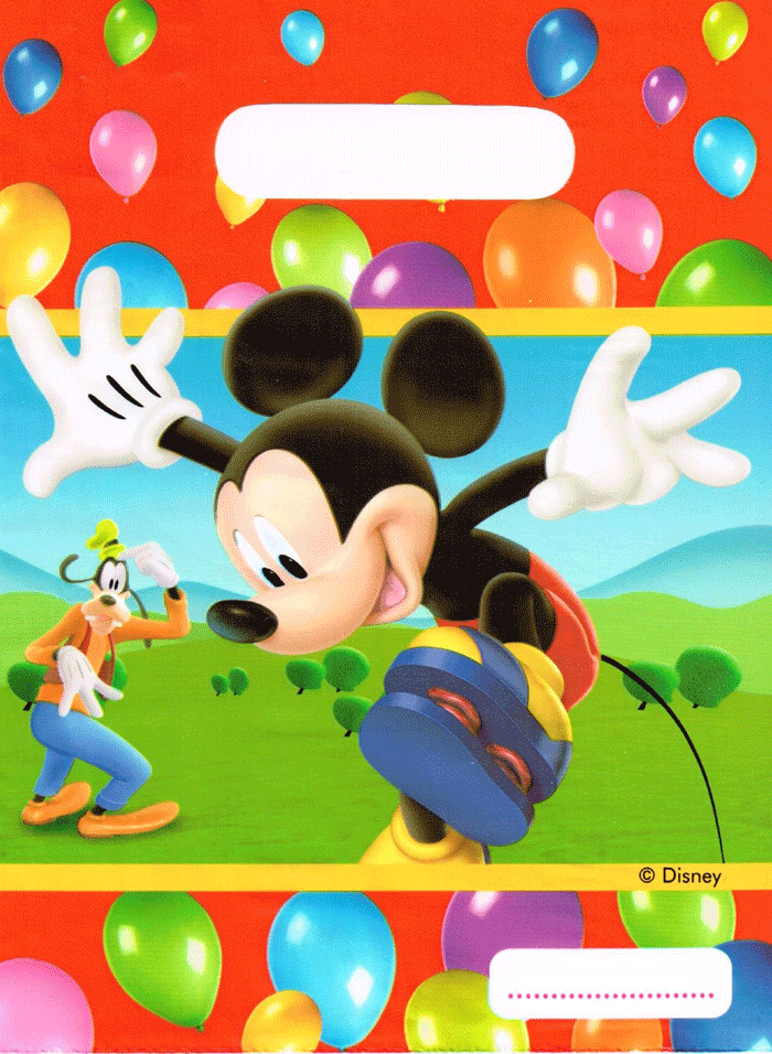 Mickey mouse en tarjeta de cumpleaños