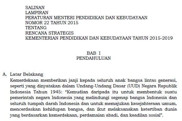 Download Permendikbud Nomor 22 Tahun 2015 Tentang Rencana Strategis Kemendikbud 2015 - 2019
