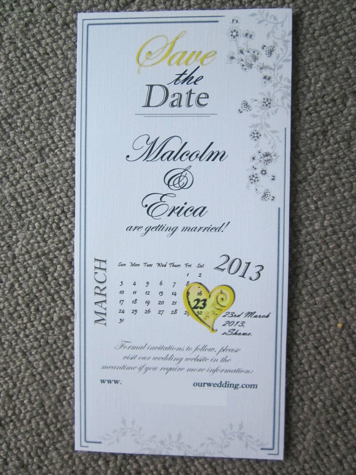 blue navy and yellow wedding stationary
