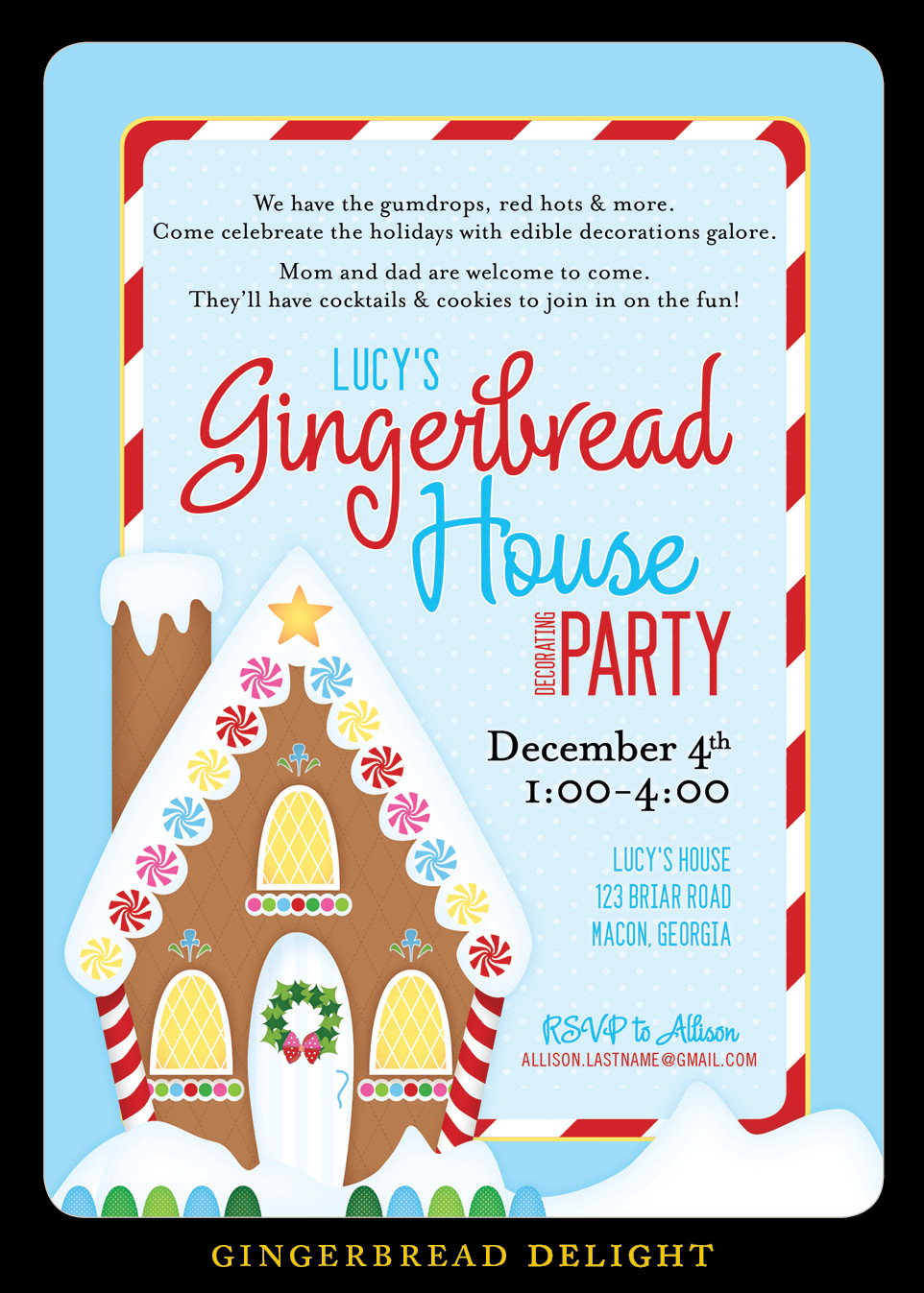 Nealon design gingerbread house decorating party invitation gingerbread house decorating party invitation filmwisefo Images