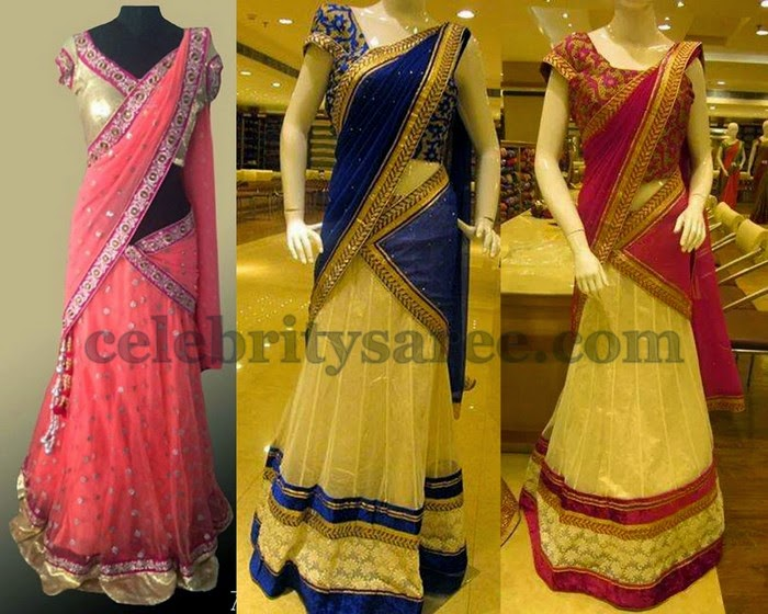 Beige and Peach Trendy Half Saris