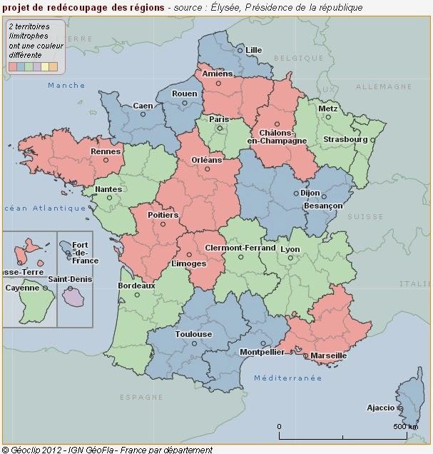 projet de redécoupage des régions françaises