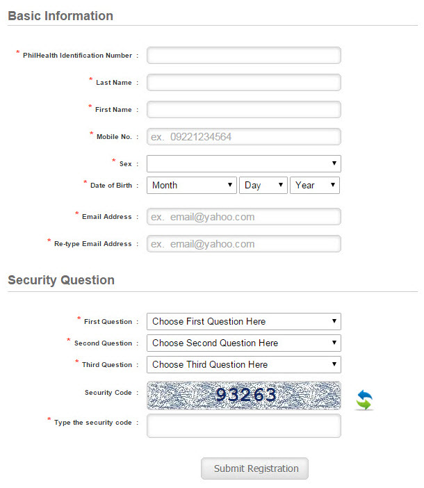 How to check philhealth contributions e pinoyguide step 2 provide you basic information fields marked asterisk are required click submit registration once completed yelopaper Choice Image