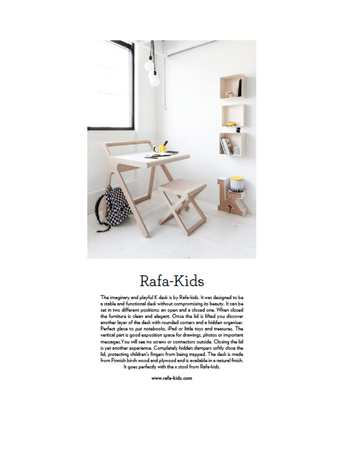 Rafa-kids K desk in Australian Magazine papier mache