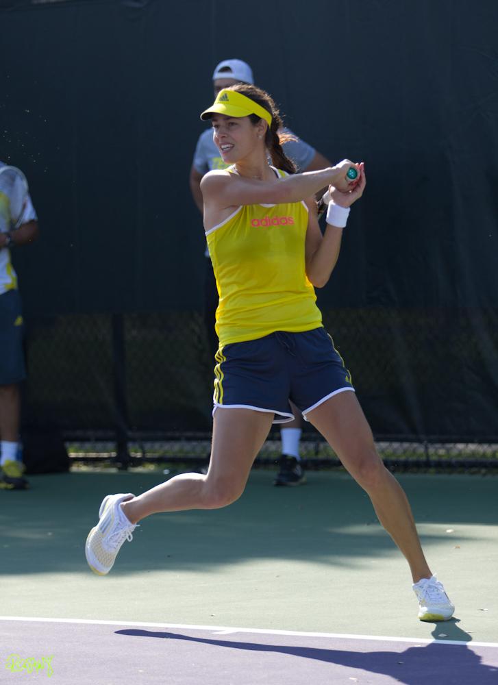 Ana Ivanovic fist pumps during her match against Caroline