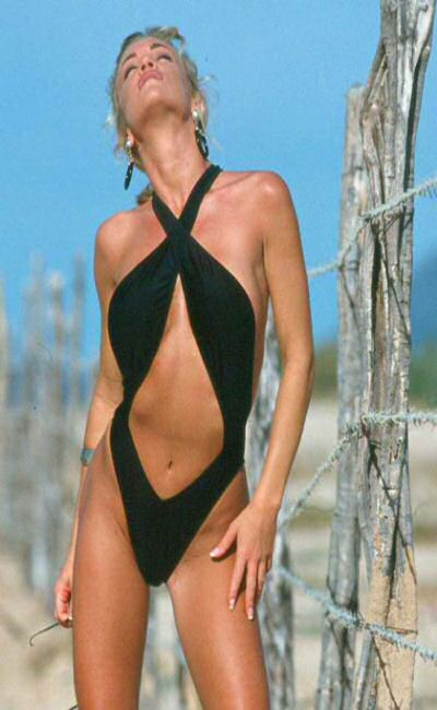 Black Pretzel one pice bathing suit with cross front and back, wide straps, high cut legs and full rear coverage