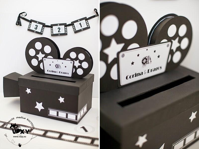 cutie dar nunta, cutie dar cinema, cutie dar personalizata, cutie dar camera de filmant, camera de filmant, vixy.ro, cutie dar tema cinema, cutie dar deosebită