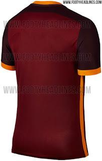 Detail bagian belakang jersey As Roma home terbaru musim 2015/2016