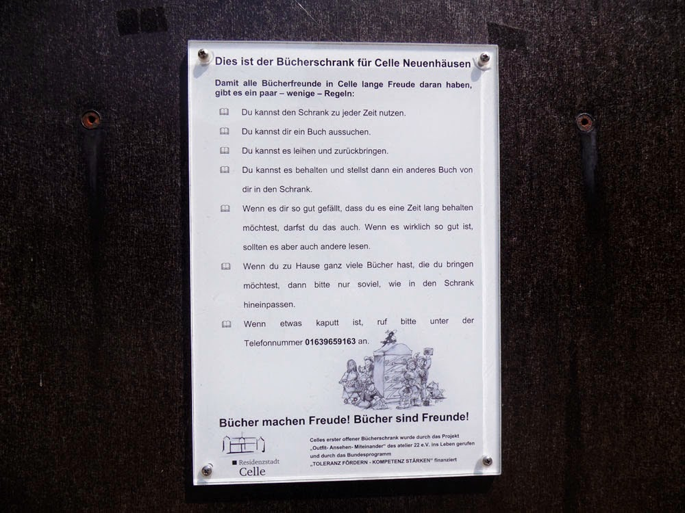 Rules for using the public bookcase in Celle