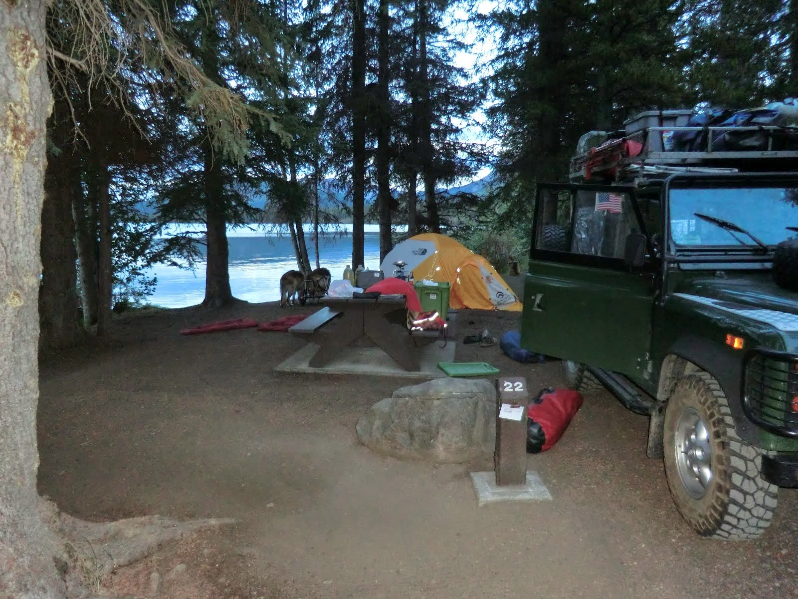 Typical Camp Scene (here, at Kinaskin PP Camp, BC, 2013)
