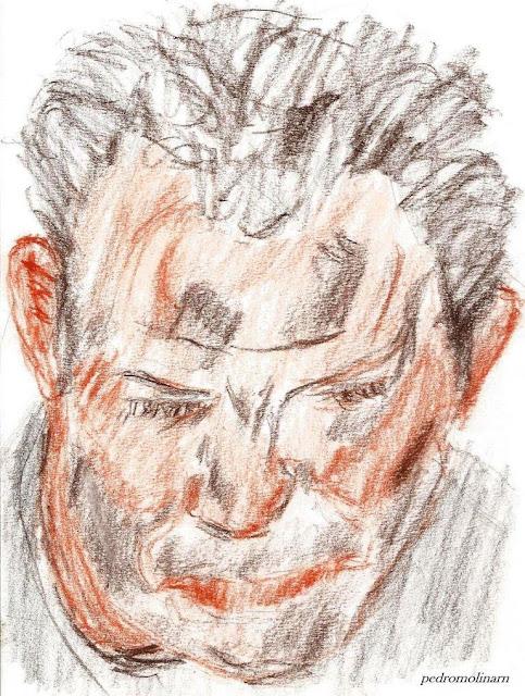 Dibujo retrato de hombre, sueños de luz oscura