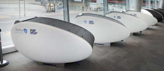 GoSleep yang direka dengan bentuk futuristik, menawarkan tempat tidur yang selesa kepada para penumpang pesawat di balai berlepas, dengan kadar RM36.80 bagi tempoh satu jam.