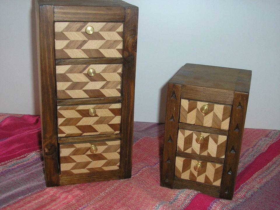 Peque os joyeros de madera taracea - Como hacer un joyero de madera ...