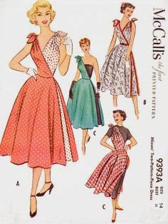 McCall's 9393 vintage double wrap tie dress ©1953