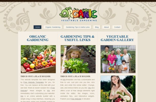 Free Gardening Floral Brown CSS Website Template