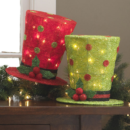 10 inch lighted top hats - Top Hat Christmas Decorations
