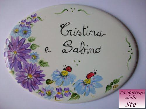 Targhetta di porcellana dipinta a mano su commissione