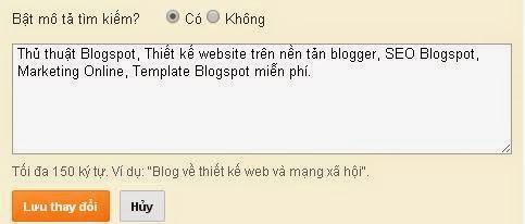 Cài đặt mô tả cho blogspot
