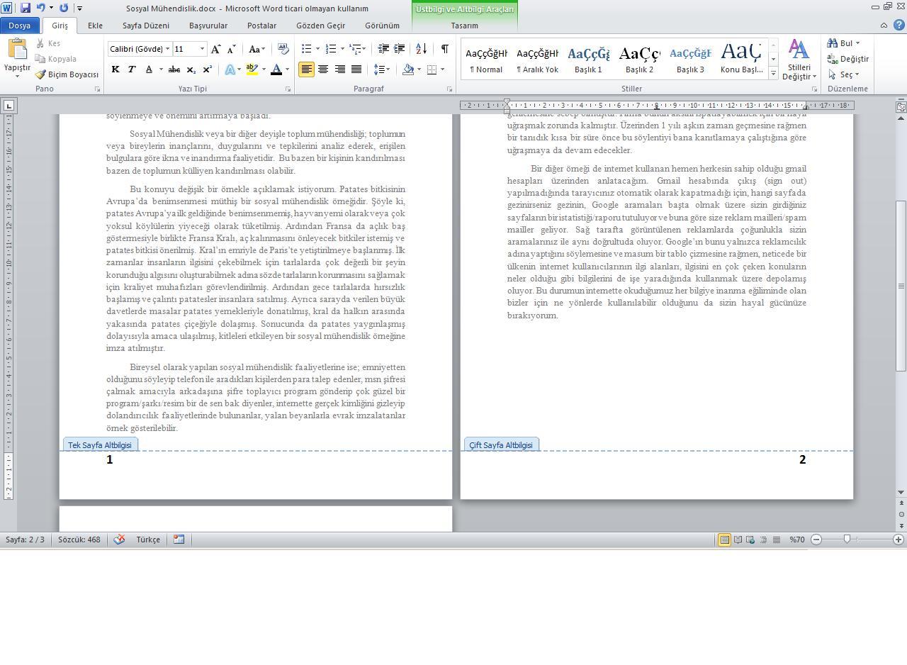 Wordde sayfa sonu yapmanın iki yolu vardır
