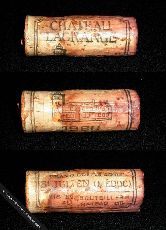 Destroyed wine cork: Chateau Lacrange (Saint Julien) 1988