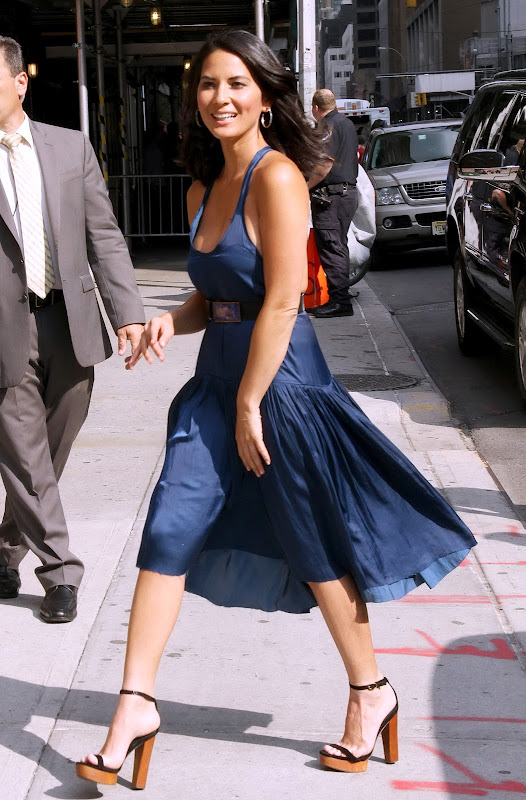 Olivia Munn hot in a blue dress