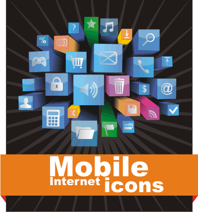 Mobile Internet icon cdr vector