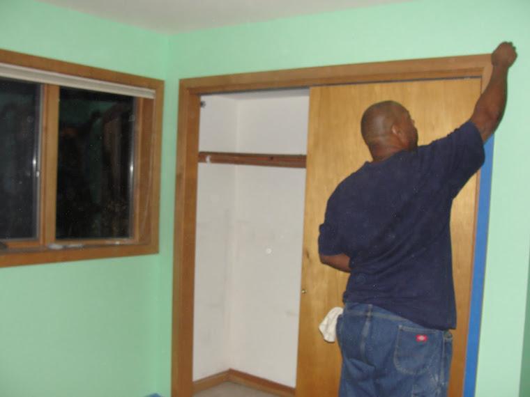 Derrick taping the trim, Long Island NY