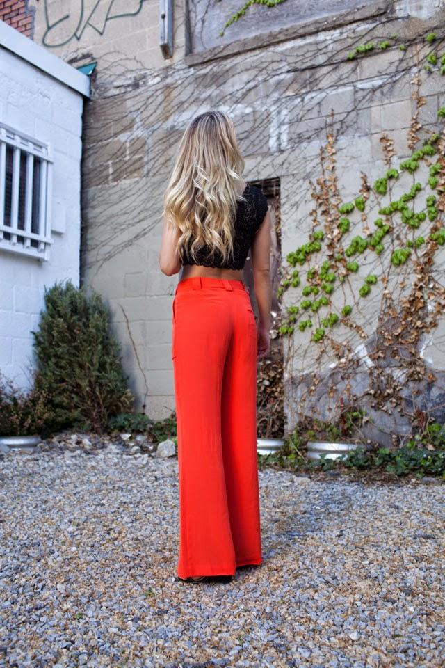 Pantone, Cayenne, Pantone Spring 2014 Colors, 3.1 Phillip Lim wide leg pants, Free People crop top, Anthropologie pearl necklace, Club Monaco Gold Cuff