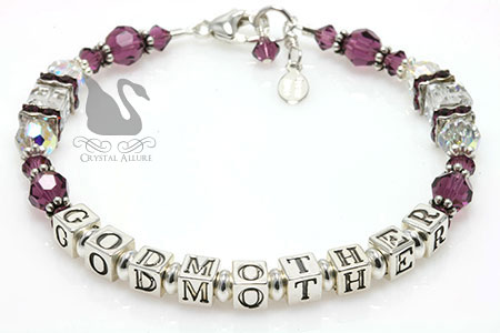 Purple Amethyst Crystal Godmother Bracelet (B200-GM)