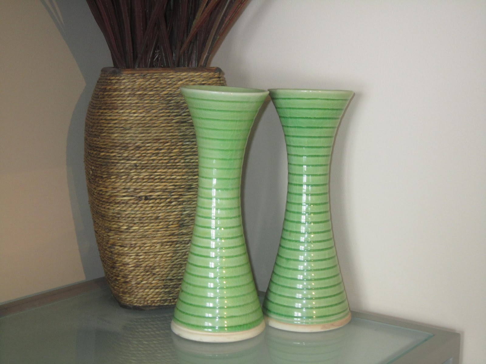 home decor, lime green pottery