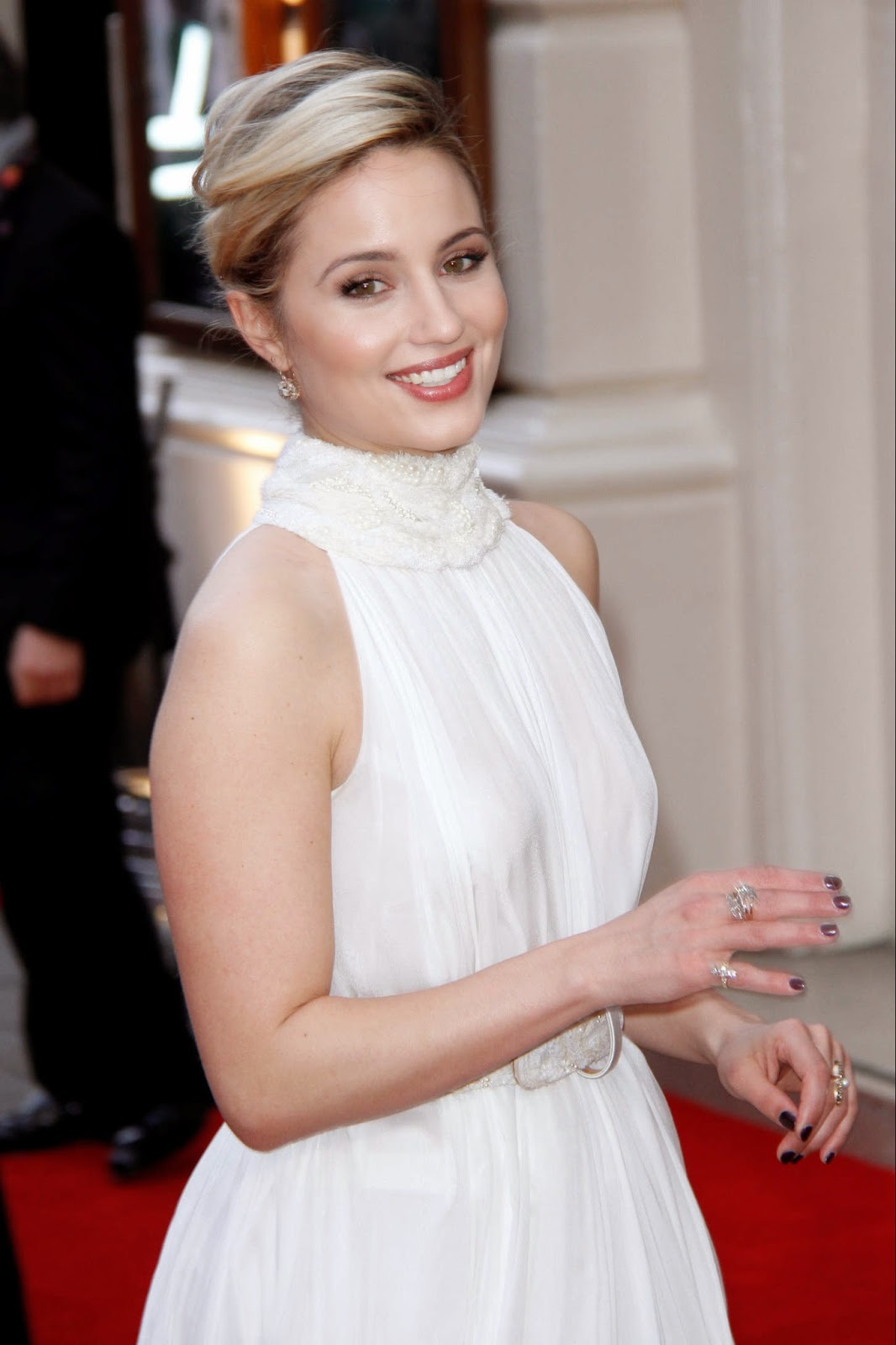 Dianna Agron wears Alexander McQueen to the 2015 Olivier Awards in London